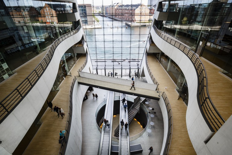 Phot otaken from above of the interior of the Royal Library in Copenhagen