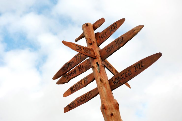Roadsign made of wood, pointing various directions